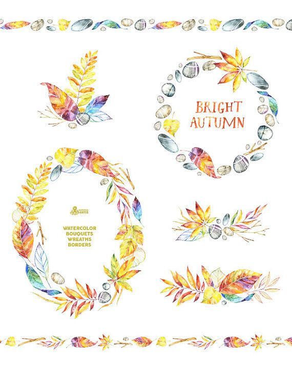Bright Autumn. Watercolor Wreaths Bouquets Borders by OctopusArtis