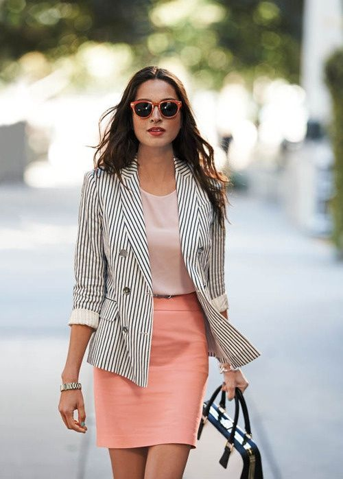Pinstripes and a classic color. Coral blouse, skirt. Elegant street women fashion outfit clothing style apparel @roressclothes closet ideas