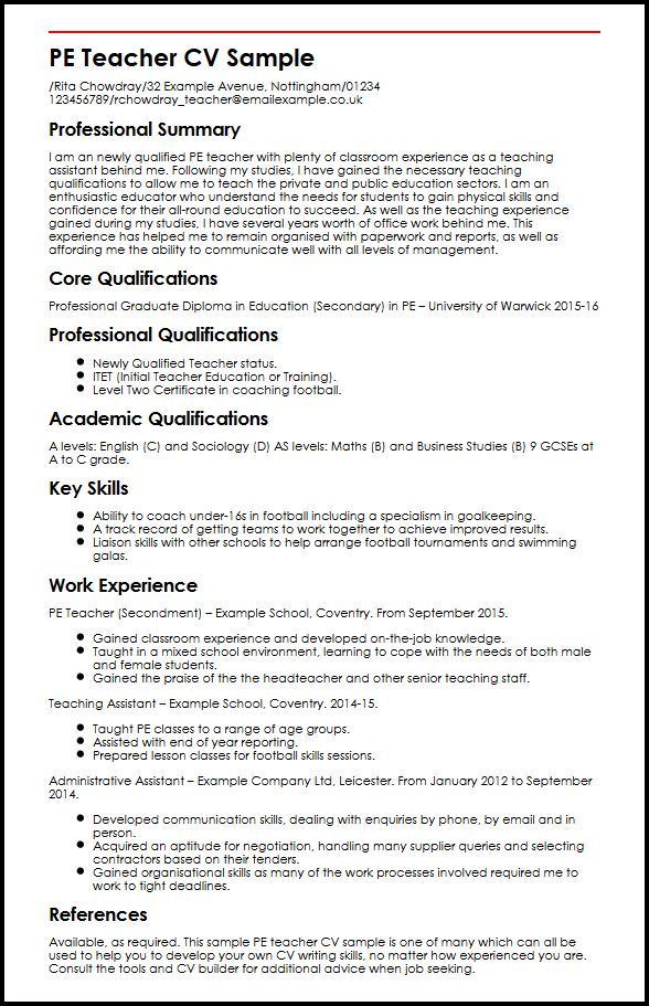 Cv Template Qualifications Teaching Assistant Job Description