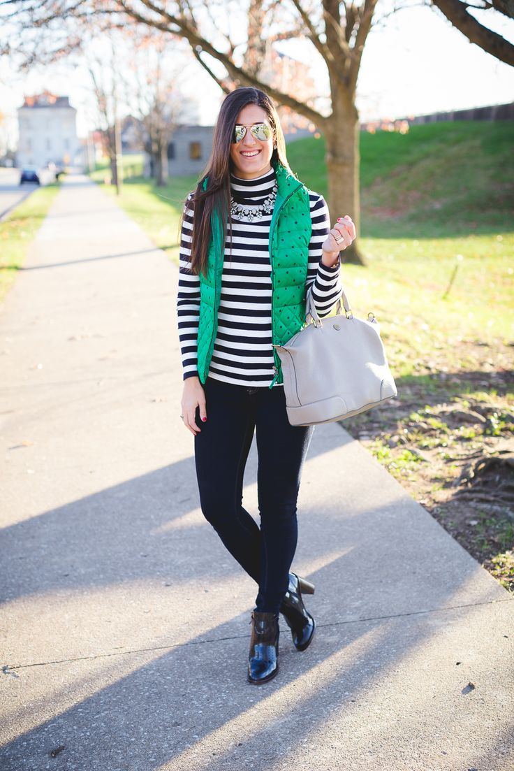 polka dot vest, quilted vest, polka dot puffer vest, navy booties, stripe turtleneck, winter style, winter outfit ideas, tory burch booties, hyde bootie // grace wainwright from a southern drawl