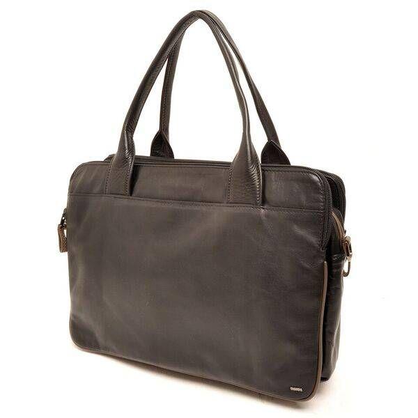 """Berba Soft Handtas / Businesstas in A4 formaat 005-964 Zwart / Taupe  Het paradepaardje uit de Soft serie: deze veelzijdige luxueuze tas kan door zijn formaat gebruikt worden als werktas maar ook als grote handtas. De tas heeft handvatten maar is ook voorzien van een lange verstelbare draagriem die je met musqetons kunt bevestigen. Zo kun je de tas ook """"crossover"""" dragen. Doordat de tas is voorzien van maar liefst 4 grote ritsvakken is hij ideaal om paperassen etc. in op te bergen. Ook is de…"""