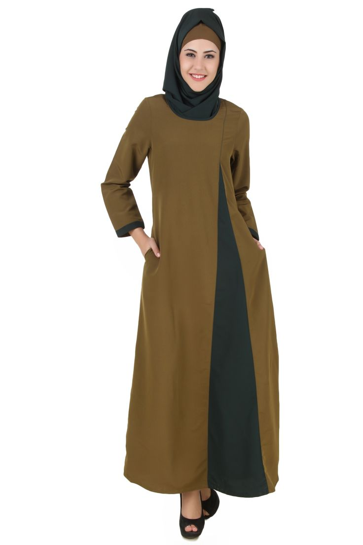 MyBatua Jihan Olive & Dark Green Kashibo Abaya | Available in sizes XS to 7XL, lenth 50 to 66 inches.  Buy link : https://www.mybatua.com/catalogsearch/result/?q=jihan+olive+%26+Dark+green
