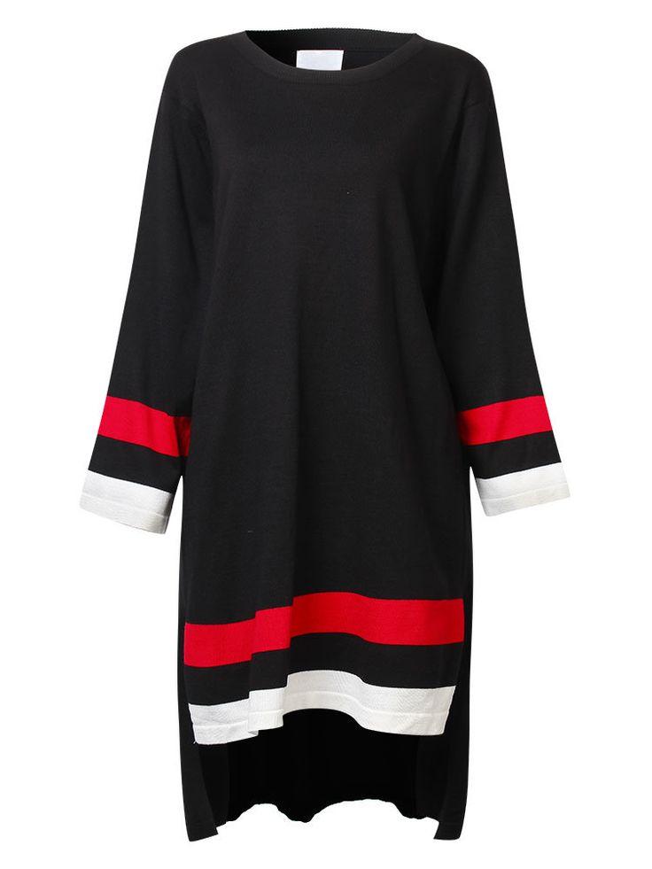 Vintage Women Long Sleeve High Low Patchwork Knit Sweater Dress