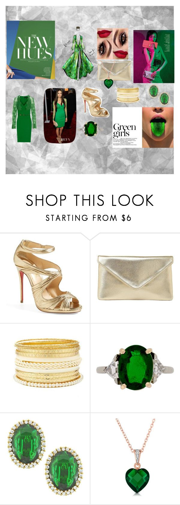 Green Girls by kelly17-kalymnos on Polyvore featuring Christian Louboutin, Charlotte Russe, Kenneth Jay Lane, Collette Z, Munro American, Elie Saab, Green Girls and Amica