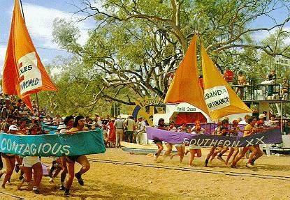 Henley on Todd Regatta. A bottomless boat race on the Todd River in Alice Springs, Northern Territory. The river is dry most of the year, flooding around December with the summer rains.