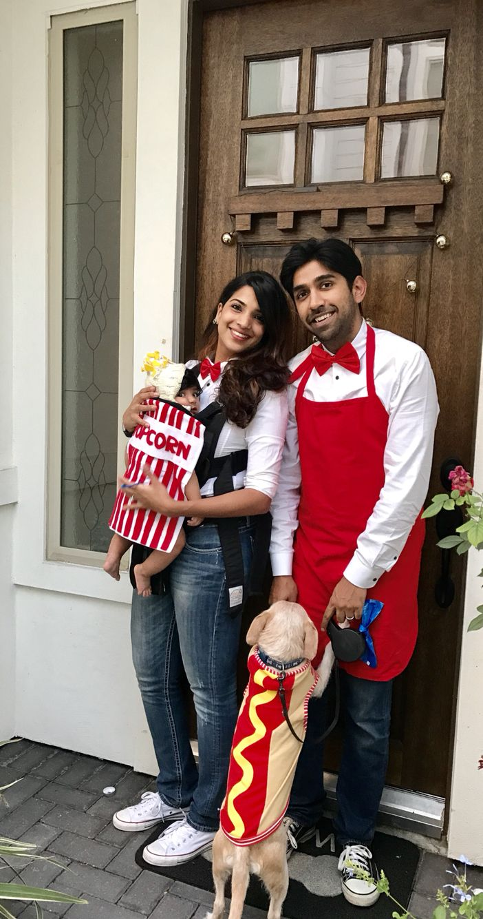 DIY Halloween costume for family. Baby wearing costume . Popcorn and hotdog vendor dog , baby family costume ideas