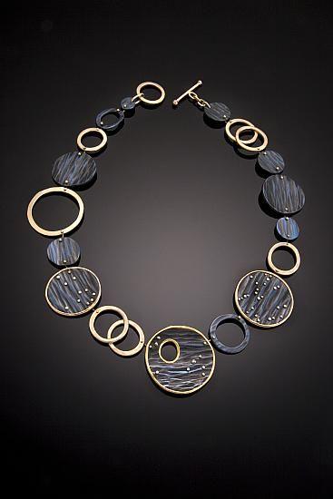 "Necklace | Martha Keith.  ""And So It Begins"" Niobium; 22k, 18k, 14k golds; diamond"