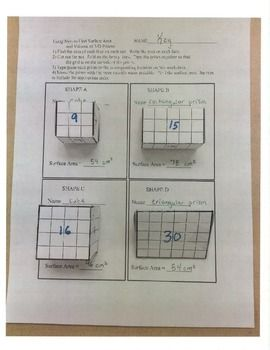 In this hands-on activity, students create a 3-dimensional models using nets. Students are required to identify the type of prism (cube, rectangular, triangular) and find the surface area of the prism using the net. There are 8 nets included in this activity (3 cubes, 3 rectangular prisms, and 2 triangular prisms).
