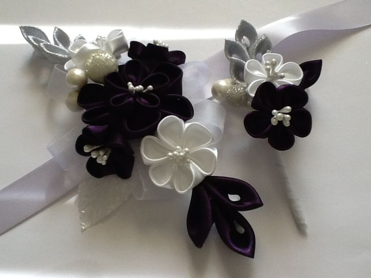 This corsage & boutonniere feature  beautiful handmade kanzashi flowers. The flowers are made of dark purple ( dark eggplant color ) & white satin.
