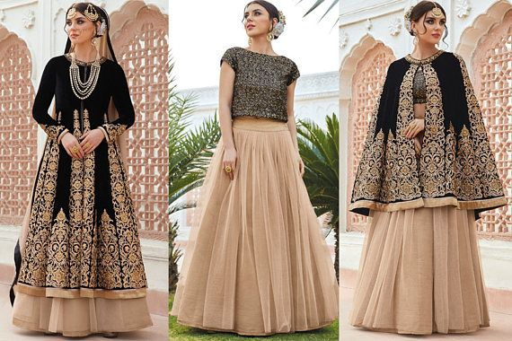 A Magnificent Black and Beige Partywear Anarkali Lehenga Style Suit which will snatch your glance for sure. This Magnificent Attire Comes with Gorgeous Heavy Embroidered Micro Velvet Anarkali Top with Net Lehenga below it. The Anarkali top is Semi Stitched. This product consists of semi