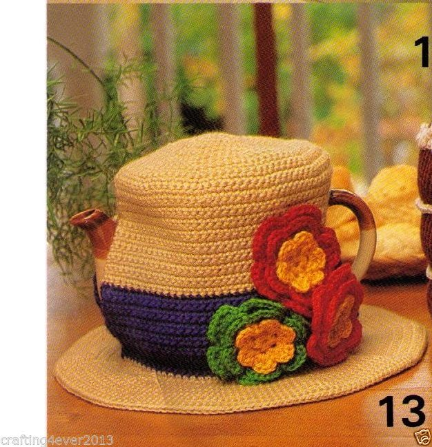VINTAGE TEAPOT COZIES ONE STYLE BEAUTIFUL HAT WITH FLOWERS -8PLY CROCHET PATTERN