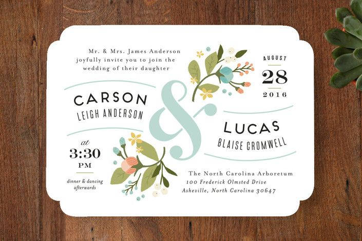 floral ampersand Wedding Invitations by Jennifer Wick | Minted