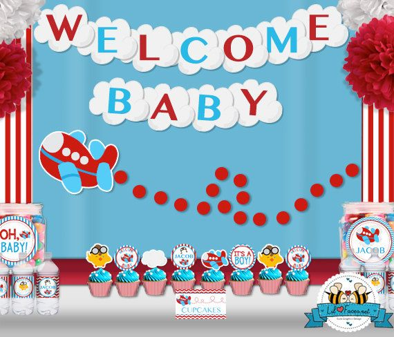 Airplane aviator baby shower party package super package for Baby shower decoration packages
