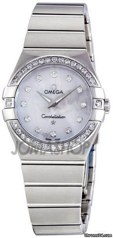 Omega Constellation Mother of Pearl Diamond Dial Ladies Watch 123-15-27-60-55-001 $4,846 #hologram #watches #trend