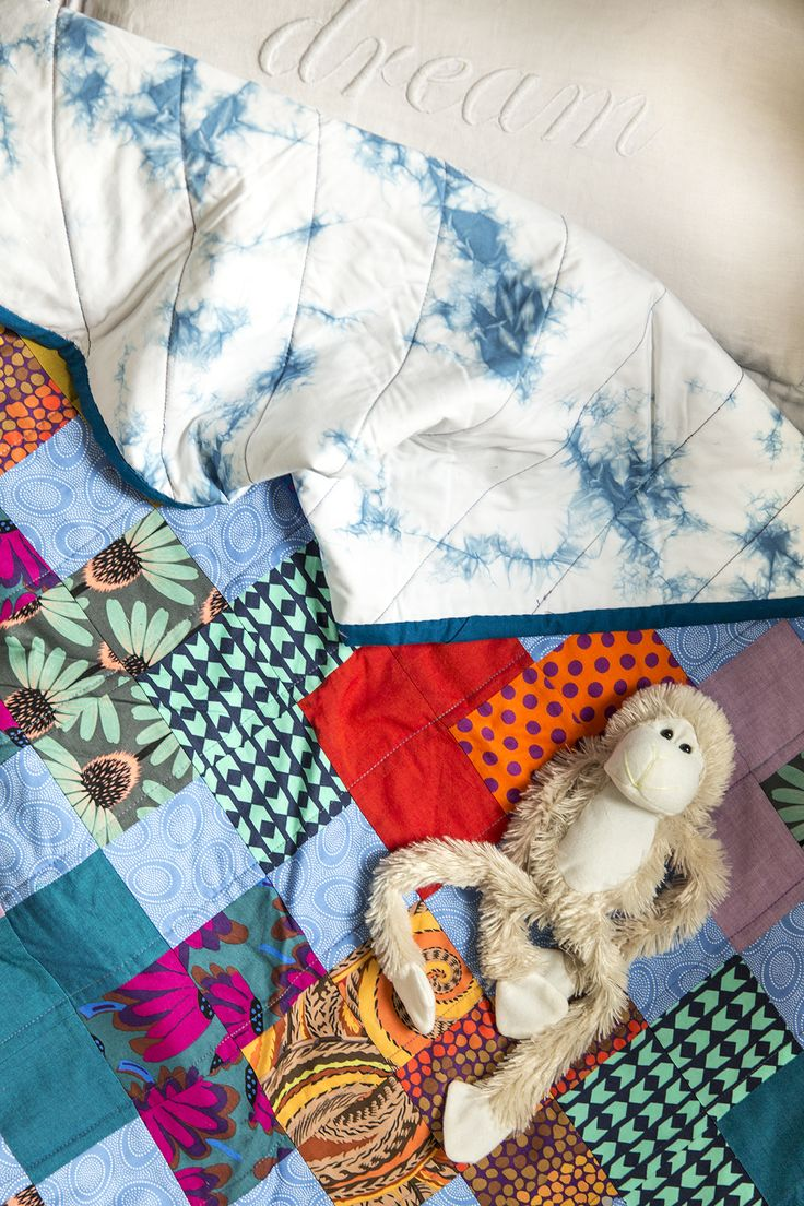 It is just such a perfect toddler quilt. Timeless pattern, fabrics of joy and hand dyed shibori by Romor Design as a backing. Love.