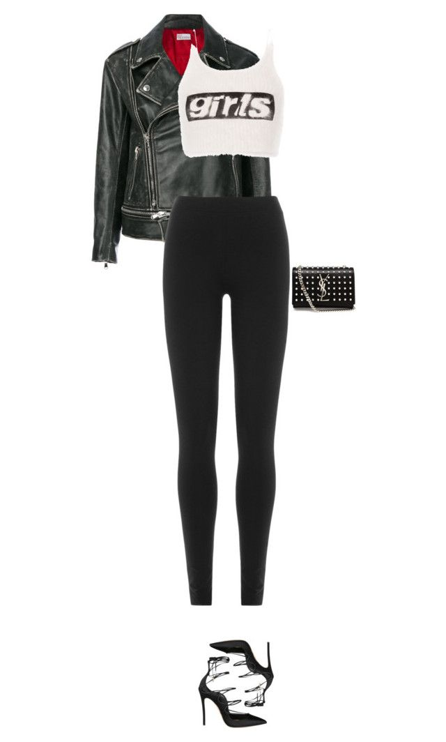 """""""💣"""" by your-new-stylist ❤ liked on Polyvore featuring RED Valentino, DKNY, Alexander Wang, Dsquared2 and Yves Saint Laurent"""