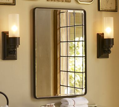 Urban Antique Bathroom. Cool Newspaper Wallcovering:  Vintage Recessed Medicine Cabinet #potterybarn