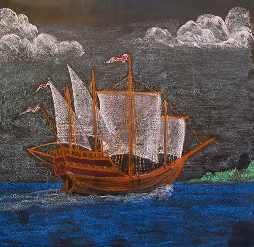 Waldorf ~ 4th grade ~ Norse Mythology ~ Across the Stormy Sea ~ chalkboard drawing