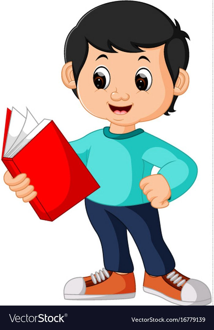 Happy Boy Reading Book Alone Royalty Free Vector Image Kids Reading Books Cute Cartoon Pictures Kids Graphics