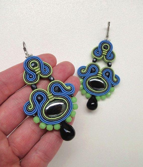 Blue Chandelier Earrings Long Blue Earrings Blue by BeadsNSoutache