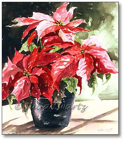 Red Poinsettia Watercolor Painting