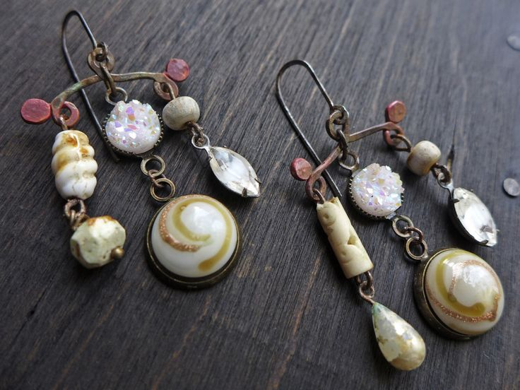 Famn- rustic mixed media art earrings in shades of white - recycled vintage assemblage jewelry by fancifuldevices