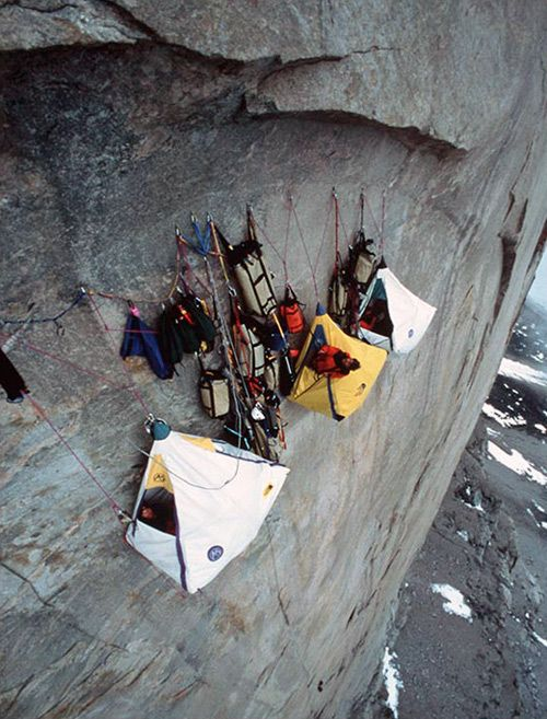 Portaledges, what extreme mountain climbers sleep in.