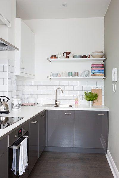 Grey & white kitchen. Photo: David Giles for The Guardian.