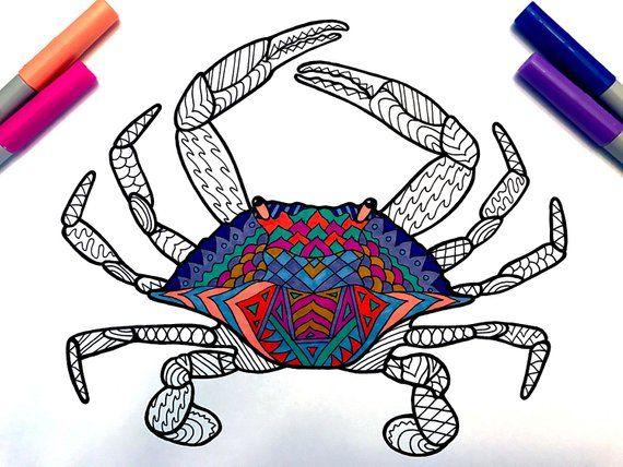 Blue Crab Pdf Zentangle Coloring Page Etsy Coloring Pages Blue Crab Crab Art