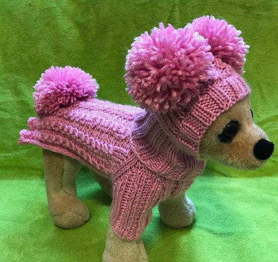 Pet Clothes Outfit Knit Pink Dress and Hat with Big Pom ...
