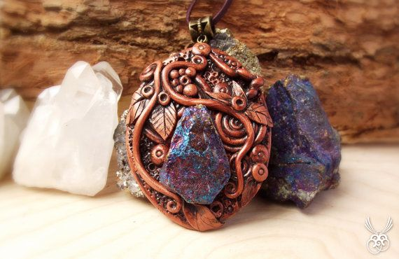 Clay and Chalcopyrite Pendant Native Colorful Necklace by Claneral