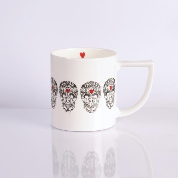 Edgy 'Loveskull' Mug. Small red love heart details. Made in Stoke-on-Trent, England. #TheNewEnglish #Mug #BritishMade #MadeInEngland #FineBoneChina #MothersDay