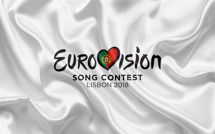 Herunterladen hintergrundbild eurovision song contest 2018, lissabon 2018, logo, flagge, portugal