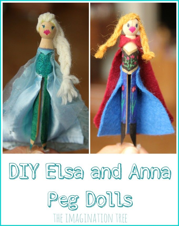 Amazing kid craft for Frozen fans - Elsa and Anna  from Frozen peg dolls.