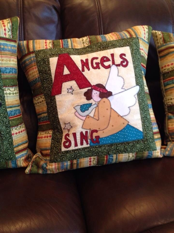 Nancy Halvorsen tidings cushion design angels sing