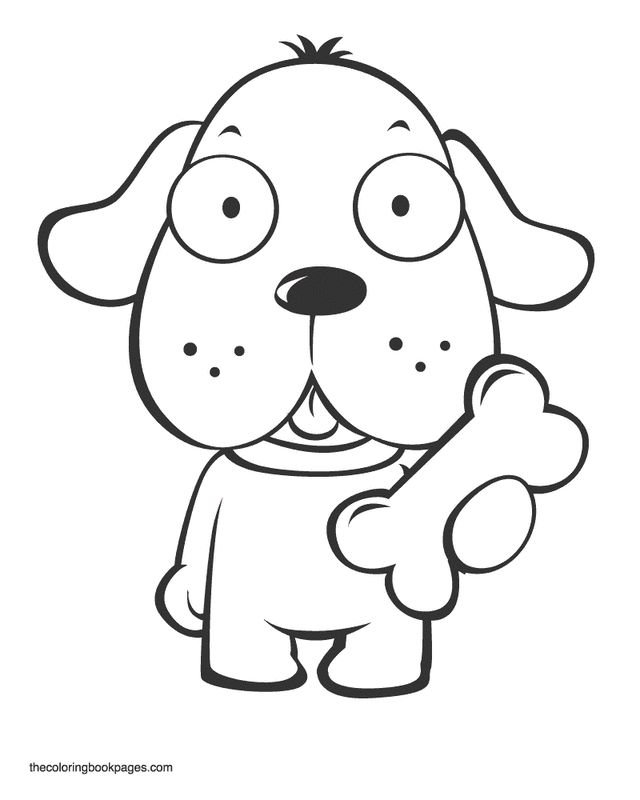 coloring book pages animals dogs cute puppy holding bone mewarnai