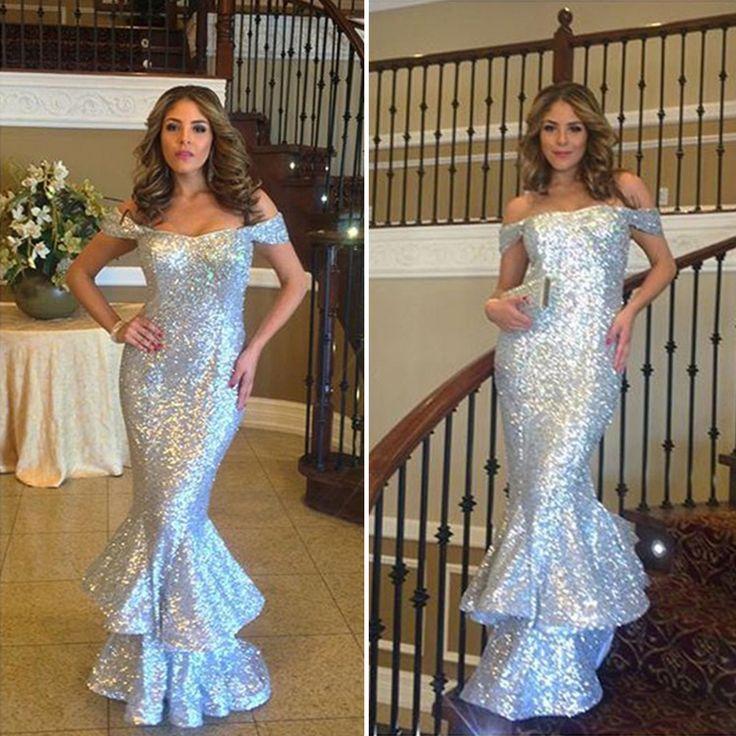 Shinning Long Ruffled Sequin Mermaid Evening Dress Simple Prom Dress,Women Evening Gowns,Pretty Evening Dresses,Cheap Formal Gowns ,Dinner Party Dress