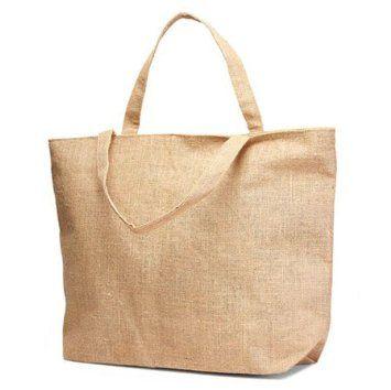 Cream Colour Burlap Fabric Jute Bag with Zipper