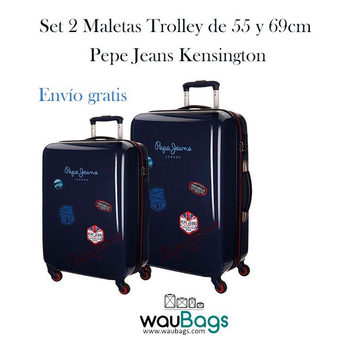 Set de viaje compuesto por 2 originales y prácticas Maletas trolley (una de ellas apta para cabina) Pepe Jeans de la nueva colección Kensington.  Con 4 ruedas que giran en 360º y un candado de cierre con combinación en el lateral. Están totalmente forradas en su interior, disponen de dos compartimentos separados por cremallera, varios bolsillos y además, traen una bolsa de tela especial para zapatos!  @waubags #pepejeans #maletas #trolley #viaje #vacaciones