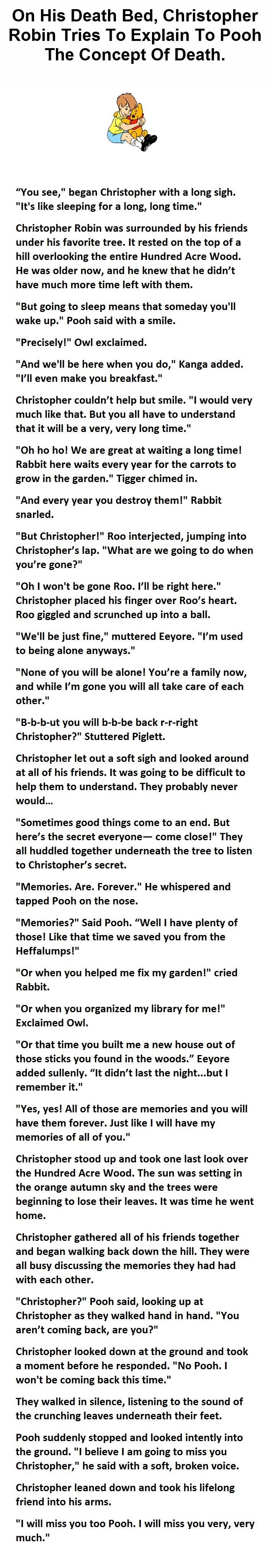 Christopher Robin says goodbye to Pooh. No heart will remain untouched.                                                                                                                                                                                 More