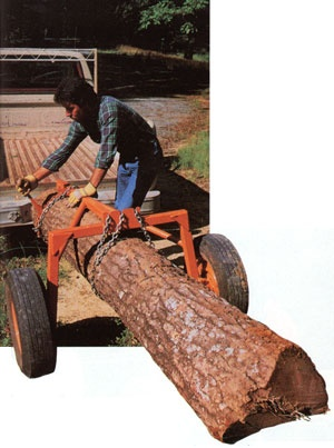 DIY Log Hauler - This straddle-wheeled log hauler carrier suits wood and other heavy loads that should be carried rather than dragged.