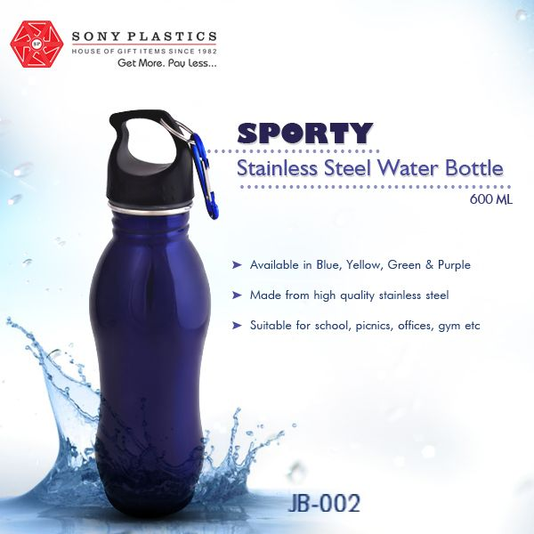 #Aquanta Sporty Stainless Steel Water Bottle Visit http://www.sonyplastics.com/ for bulk inquiries