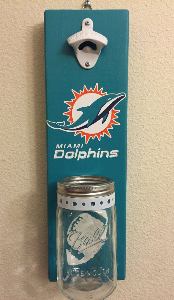 MIAMI DOLPHINS Bottle Opener with Mason Jar Rustic by NARSCH