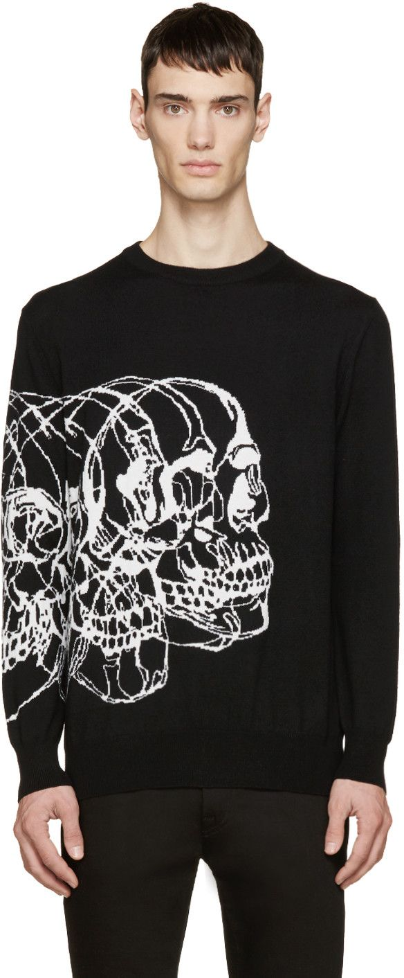 Alexander McQueen Black Knit Best Skulls Sweater