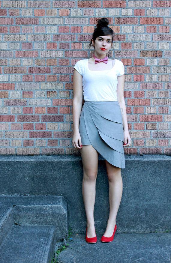 Grey origami petal skirt by Minxshop