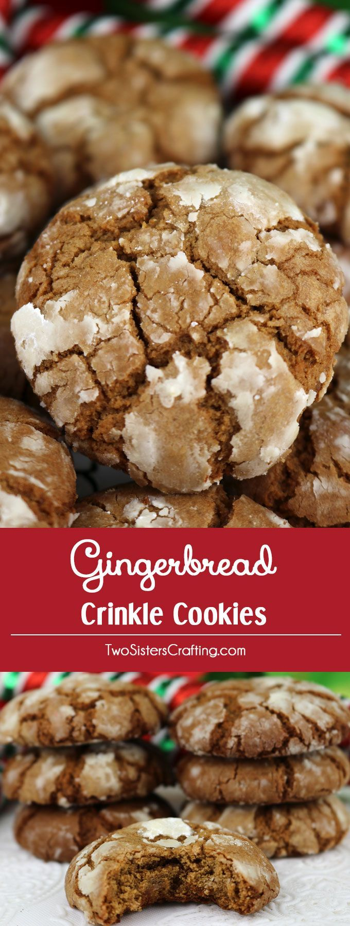 Gingerbread Crinkle Cookies - light, fluffy and spicy on the inside and sweet and crunchy on the outside. #ChristmasCookies #ChristmasTreats