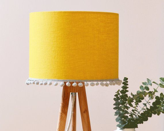 Lampshade Mustard Linen Pom Pom For Lamp Base Etsy In 2020 Drum Lampshade Lamp Bases Bedroom Lampshade