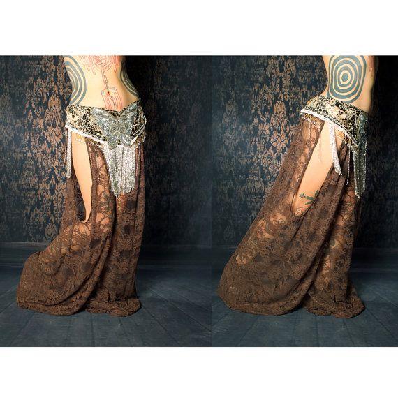 Tribal Belly Dance Harem Pants, Brown Lace cut out leg. Turkish floorwork, tribal fusion, Gypsy costume, Art Nouveau Costume, Mardi Gras