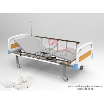 2 Motorlu Lazımlıklı Elektrikli Hasta Karyolası (ABS Başlık - Tabanca Korkuluk)