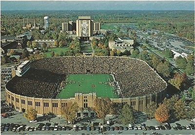 Vintage University Notre Dame Fighting Irish Football Stadium Postcard Pretty!